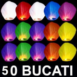Decoratiuni nunta - OFERTA 50 LAMPIOANE ZBURATOARE COLORATE+ CADOU 2 LAMPIOANE INIMA ROSIE
