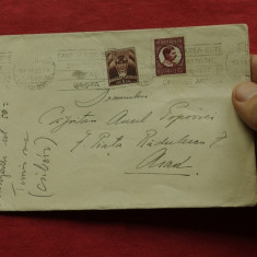 Plic perioada interbelica - 1933 - cu stampile si timbre !!