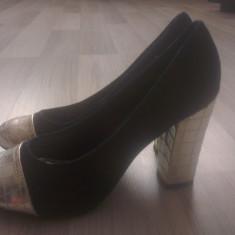 Pantofi dama - Pantofi NOI - 38 - material de blug - toc inalt si gros!