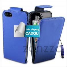 Husa albastra iPhone 5 Apple 5s Stylus Folie display CADOU - Husa Telefon Apple, Albastru, Piele Ecologica, Cu clapeta