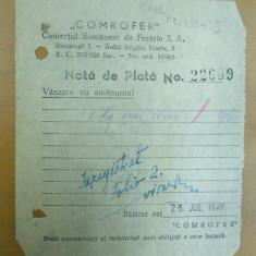 Hartie cu Antet - Nota de plata Comrofer Comertul romanesc de fierarie Bucuresti 1948
