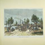 Gravura color Razboiul La gurile Prutului 1877 - 1878 - Pictor roman