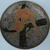 Metal/Fonta - Farfurie / platou ALAMA cu FAZANI, desen GRAVAT