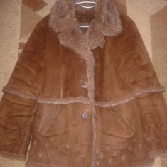 Palton dama, Lana - Cojocel culoare maro