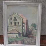 Tablou pictori straini, Peisaje, Realism - Tablou veritabil autentic pictura veche (interbelc) ulei pe carton, frumos peisaj rural, semnat,