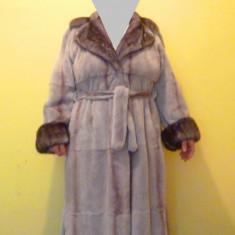 Haina de blana lunga, Karen Rizzi - Palton dama, Gri, Marime: 40, Piele