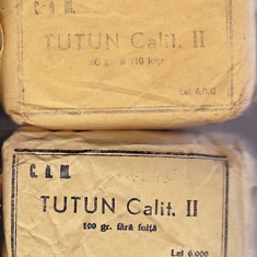 Lot 2 pachete diferite a cate 100 grame tutun, DE COLECTIE 1947, calit.II, cu 110 foite si fara foite, pret 6000 lei, cu mesaj elctoral:VOTATI SOARELE