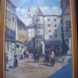 Tablou - Ulei pe carton gros - Peisaj urban, zona de targ / Anii '20 - '30