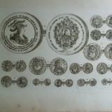 Gravura circa 1820 monede Ungaria Imparatul Leopold I Imparatul Iosif I
