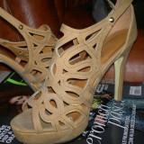 Sandale dama, Marime: 37.5, Camel - Sandale leonardo