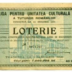 BILET LOTERIE LIGA PENTRU UNITATEA CULTURALA A TUTUROR ROMANILOR VALOARE 40 LEI ANUL 1927 STARE AUNC - Bilet Loterie Numismatica