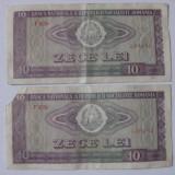 2 BANCNOTE SERII CONSECUTIVE DE 10 LEI 1966