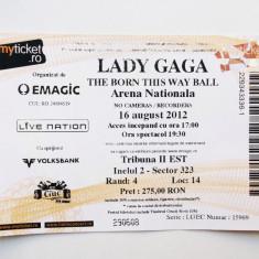 BILET DE COLECTIE CONCERT LADY GAGA 16 AUGUST 2012 BUCURESTI ARENA NATIONALA ** - Bilet concert, National Arena