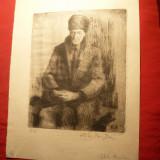 Tablou - Bogdan Stihi - Batran sezand -Gravura 1/8, dim. =13x16 cm