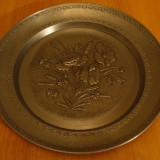 Metal/Fonta - Platou de zinc in relief, excelent realizat, FLORI DE MAC