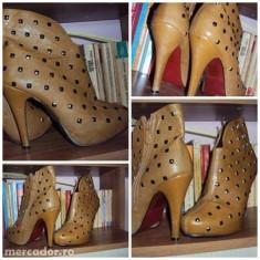 Botine cu tinte - Pantof dama Benvenuti, Marime: 37, Culoare: Maro, Marime: 38, Albastru