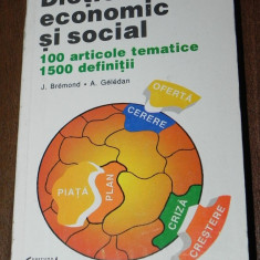 J BREMOND, A GELEDAN - DICTIONAR ECONOMIC SI SOCIAL - Carte Economie Politica