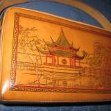 Geanta vintage - Poseta Vintage China din piele perioada 1960