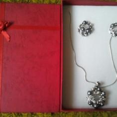 Set colier si cercei argint industrial - Set bijuterii argint Meli Melo
