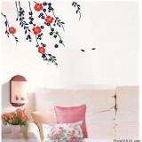Sticker - autocolant decorativ pentru perete, flori rosu si negru