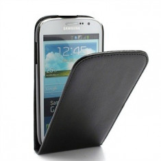 Toc piele neagra flip Samsung Galaxy Fit s5670 + Folie protectie ecran + expediere gratuita - Husa Telefon