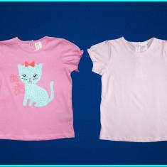 NOI, DE FIRMA _ Set 2 x tricou fetite, roz cu pisicuta H&M _ fete | 12 - 18 luni