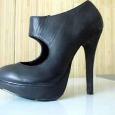 Pantofi cu toc înalt şi platformă - Pantof dama, Marime: 36, Culoare: Negru, Negru