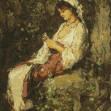 "Goblen lucrat manual impecabil (reproducere ""In asteptare"" Nicolaie Grigorescu) - Tapiterie Goblen"