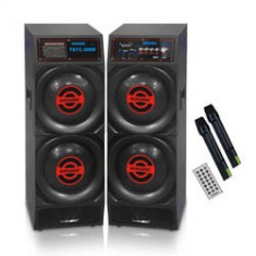 SISTEM 2 BOXE AMPLIFICATE/ACTIVE, MIXER INCLUS, MP3 PLAYER STICK, CARD, TELECOMANDA+2 MICROFOANE WIRELESS.