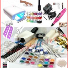 Kit Set Unghii false Sina Gel UV Manichiura, Lampa 36w, 12 Geluri Color, Pila Electrica