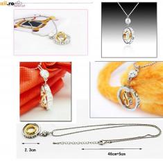 Colier placate cu aur - COLIER PANDANTIV in forma de INELE cu aur filat si cristale din zirconiu. NOU - 2+1 gratis toate produsele la pret fix - RBK3531