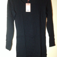 Bluza dama, S/M, Maneca lunga, Casual, Bumbac - Bluza lunga tip rochita pentru colanti, neagra, marimea S/M, noua cu eticheta