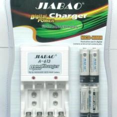 Incarcator NiCD-NiMh pentru acumulatori AA, AAA, 9V + 4 Acumulatori 4500 mAh - Baterie Aparat foto