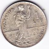 Monede Romania - 1.Romania, 1 LEU 1910, argint, muchia dreapta, monetaria Bruxelles