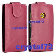 Husa Telefon - Livrare gratuita! Husa toc flip roz pentru Nokia Lumia 520, inchidere magnetica + laveta microfibra + stylus pen