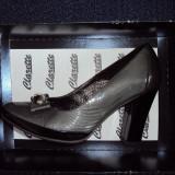 Pantofi CLARETTE original de piele ..gri lacuit - Pantof dama