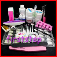 Set unghii false, unghii false cu gel UV, Tipsuri, Gel UV SINA, Degresant, Pensule pictura, Top Coat, Buffer, Crema luciu