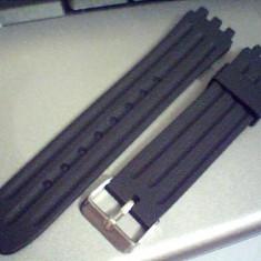 Curea swatch neagra din silicon de 19 mm, latime.