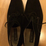 Pantofi negri - piele intoarsa - Pantofi barbati, Marime: 43, Culoare: Negru, Negru