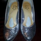 Pantofi dama, Marime: 38, Argintiu - Pantofi eleganti