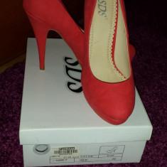 Pantofi cu platforma rosu-somon - Pantof dama, Marime: 38