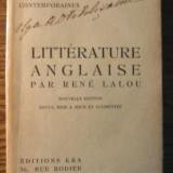 Carte veche - Carte - Rene Lalou - Litterature Anglaise - Panorama des litteratures contemporaines