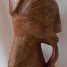 Arta din Africa - ARTA AFRICANA STATUETA OMUL CU PIPA LANT DUBLU 70CM SCULPTATA LEMN DE MASLIN