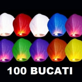 Set 100 Lampioane zburatoare colorate sky lanterns . Oferta Promotionala evenimente festive Nunti Botezuri Petreceri Aniversari