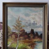 Tablou pictori straini - Tablou in ulei pe panza - Peisaj de toamna - semnat H Kulu - 50 x 70 cm.