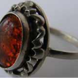 Inel vechi din argint cu chihlimbar (12) - de colectie