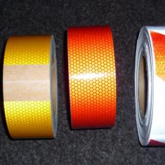 Banda reflectorizanta-25 m-alb-rosu-galben-alb+rosu- - Ornament Auto