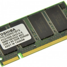 Memorie RAM laptop Toshiba, DDR, 256 MB - Memorie laptop 256MB DDR1 266 MHz (PC2100) Toshiba THLD25N21B75, SODIMM 200 pini