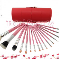 Pensula make-up - Trusa 16 Pensule Machiaj Profesionale Fraulein38 Germania Cotton Candy cu etui