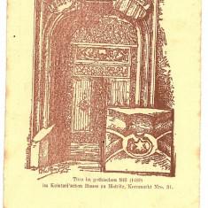 742 - Bistrita Nasaud, BISTRITA, Gothic door - old postcard - unused - Carte Postala Transilvania pana la 1904, Necirculata, Printata